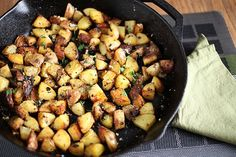 How to cook the perfect breakfast potatoes in your cast iron skillet.