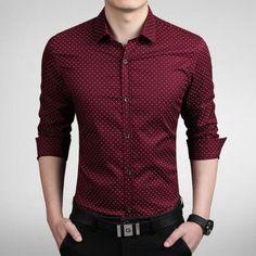 New 2016 Men's Shirts men Casual slim fit designer Print Camisa red/kh – liligla Mode Outfits, Casual Outfits, Fashion Outfits, Style Fashion, Fashion Men, Fashion Guide, Fashion Sites, Fashion 2020, Paris Fashion