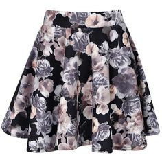 Boohoo Amelia Floral Print Scuba Skater Skirt ($14) ❤ liked on Polyvore featuring skirts, bottoms, saias, floral skirt, flared skirt, floral circle skirt, floral print skirt e floral skater skirt
