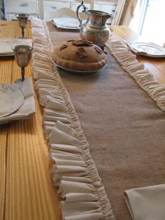 Farmhouse Chic burlap and muslin ruffled table by ThePinkBarnDoor, $60.00 I can make this myself for $10!