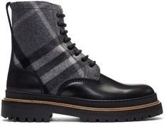 Burberry - Black & Grey Check Shearling William Boots