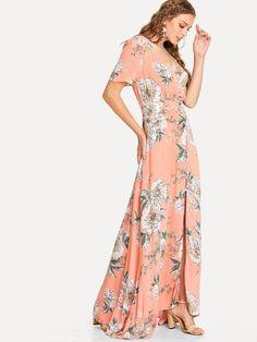 Vestido floral con botón -Spanish SheIn(Sheinside)