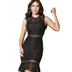 Newest Summer Lace Hollow Out Sleeveless Tank Trumpet/Mermaid Women Dress Elegant O-Neck Solid Sexy Party Mini Dresses Vestidos