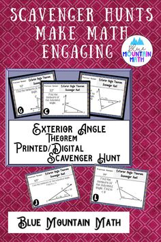 Looking for a fun, engaging activity that gets the kids moving and talking about math? In this resource, students practice finding the measures of angles using the exterior angle theorem and you can choose between a printed activity or digital (self-grading) activity. 7 of the 12 problems are numeric. The printed activity works great in the classroom while the digital activity can be used for distance learning or absent students. Or use them both!