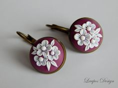 Dusty Violet Earrings Polymer Clay Applique Technique  Flowers