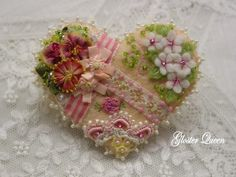 Victorian looking crazy quilt heart felt pin / brooch by GlosterQueen on Etsy