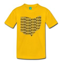 "O-H-I-O Toddler Premium T-Shirt by Spreadshirt, Youth 4T, sun yellow. ATTENTION: Ensure you choose ""Spreadshirt USA"" as the seller to guarantee you receive an authentic, high quality Spreadshirt product, made in the USA, as well as the great Spreadshirt customer service you expect. If another seller name is displayed, offering a lower price, the product is not associated with Spreadshirt at all, and may be of lower quality, shipped from China, and will have no Spreadshirt customer…"