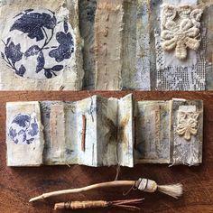 Roxanne Evans Stout- Dream Weaver Workshop in Ashland, Oregon Concertina Book, Accordion Book, Fabric Journals, Art Journals, Class Journals, Journal Art, Stitching On Paper, Handmade Books, Handmade Journals