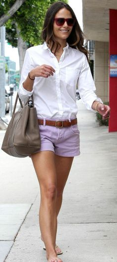 Jordana Brewster- sweet purple shorts