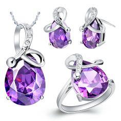 Amethyst/Sapphire Jewelry Set Fashion by UloveFashionJewelry, $17.24