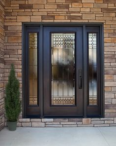 ProVia's residential steel exterior security doors come in woodgrain textures or smooth steel and multiple finishes, offering top performance and appearance in a steel front door. Craftsman Front Doors, Craftsman Exterior, Garage Doors, Exterior Entry Doors, Entrance Doors, Entry Door With Sidelights, Fiberglass Entry Doors, Door Picture, Property Design