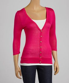 $8.99 This Fuchsia V-Neck Cardigan is perfect! #zulilyfinds