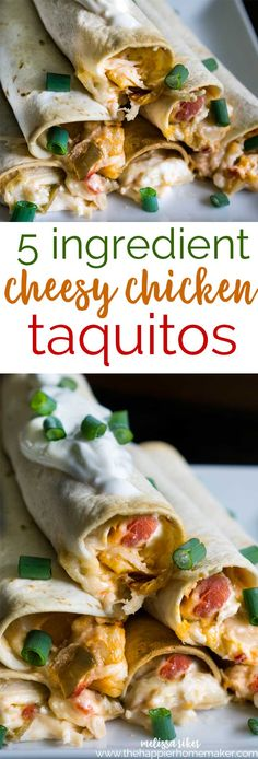These creamy, cheesy chicken taquitos have just 5 ingredients and bake up quickly-perfect for appetizers or pair with rice or beans for a fast weeknight meal!