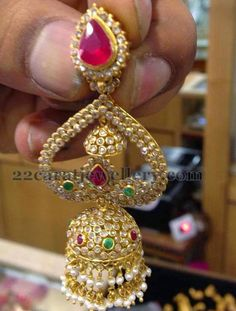 Nicely Crafted Uncut Diamond Jhumka | Jewellery Designs