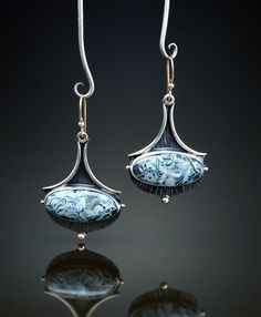 Moss Agate Earrings. Fabricated Sterling Silver, 14k and 18k. www.amybuettner.com https://www.facebook.com/pages/Metalsmiths-Amy-Buettner-Tucker-Glasow/101876779907812?ref=hl https://www.etsy.com/people/amybuettner http://instagram.com/amybuettnertuckerglasow