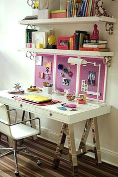 home school study desk for teen girl. I would like it a bit more organized and light blue with white instead