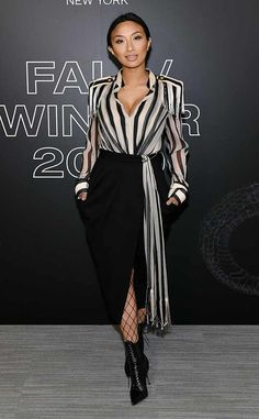 The Real host Jeannie Mai rocks a striped blouse with tasseled shoulder pads, black shirt, fishnets, and black ankle boots at the Rag & Bone show during New York Fashion Week. Bronze Dress, Jeannie Mai, Celebrity Style Inspiration, Black Dress With Sleeves, Inspirational Celebrities, Black Ankle Boots, New York Fashion, Beautiful Outfits, Celebs