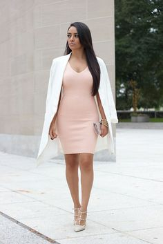 Misguided Oversize White Blazer, Missguided Blush Knit Mini Dress, Shoedazzle Heels
