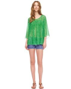 MICHAEL Michael Kors  Wave-Print Flowy Top & Printed Twill Shorts.