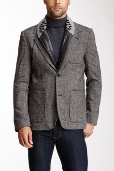 """Knit Collar Blazer in charcoal by Threads for Thought $178 - ($79) $60 @HauteLook. - Shawl collar with knit detail, spread collar underneath - 2-button front closure - Left breast patch pocket - 2 bottom patch pockets - Topstitched detail - Center vent - Allover tweed - Approx. 30"""" length Model's stats: Height: 6'0"""", Suit: 38L, Waist: 31''. Model wearing size M. Dry clean. Shell: recycled fabric, 70% polyester, 21% acrylic, 3% cotton, 2% wool, 2% polyamide, 2% viscose. Lining: 100%…"""