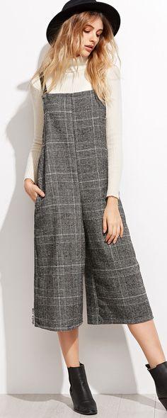 Grey Glen Plaid Wide Leg Jumpsuit. Simple & very cute!