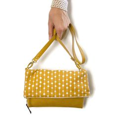 faux leather messenger bag  mustard yellow  by CandiedCottons