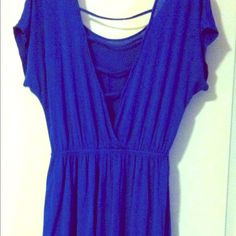 royal tunic cutout back dress New without tags royal blue tunic dress with cutout back size medium. From wet seal. Elastic waist cotton stretch so it fits a variety of sizes and body types. Dresses Mini