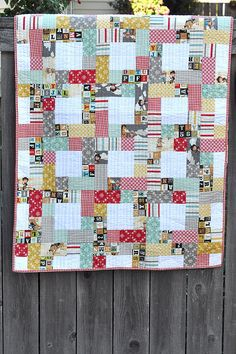 This Way and That Way Baby Quilt - uses jelly roll strips | Pleasant Home