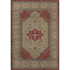 Woven Accents Treasures Gold and Red Traditional Bordered Area Rug (5' x 8') (Gold 1388A), Beige, Size 5' x 8' (Plastic, Geometric)