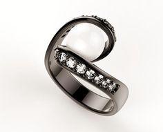 Anello realizzato in oro bianco rodiato nero con perla e 16 diamanti taglio brillante  www.aurescreazioni.it