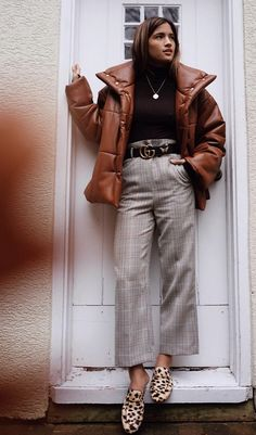 leopard print flat mules, leopard print slides, wide leg cropped pants, puffy jacket in chocolate brown, puffer jacket in brown,