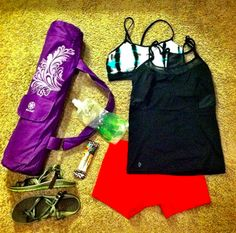 what's in my gym bag for bikram yoga? Not much! A Platypus collapsable water bottle and a Kind Bar make for the perfect post-workout refuel