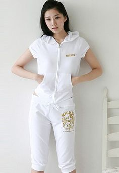 Wholesale  Charming & Hot Printing with-cap Short Sportsuit----White  top dresses