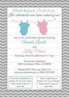 Lovely Joint Baby Shower Invitation, polka dot onesies, boy/girl, light blue and pink Digital, Printable file