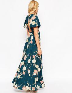 Imagen 2 de Vestido largo cruzado con estampado floral de ASOS WEDDING