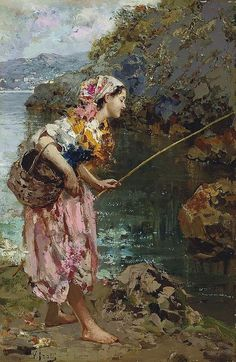 The Fishergirl ~ Vincenzo Irolli ~ (Italian 1860-1942)
