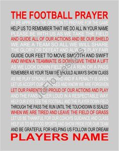 The Football Prayer with ball personalized Senior night, Sports banquet, Football print, Football poster, Sports prayer Football Prayer, Football Spirit, Football Cheer, Football Quotes, Youth Football, Football Stuff, Softball, Soccer, Basketball Drills
