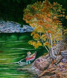 Canoeing On the River - Oil Painting Canoeing, Nature Animals, Sunshine, Oil, River, Fine Art, Painting, Painting Art, Nikko