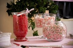 Fill up jars with single or multicolor jelly beans and other favorite candies for a fun decoration at special events like bridal and baby showers.