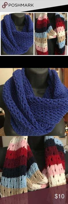 Thick Knit Scarves Sold Together Large knit scarves, both sold together. A few tiny flaws that give the Scarves character.  No holes. You can use a crochet needle and add to the Scarves and make them your own. Both are in very good condition. Accessories Scarves & Wraps