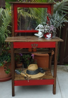 """SOLD - 1920s Window Table with Vintage Hardware in """"Barn"""" red."""