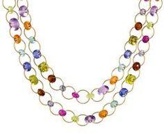 Multi-Stone Silken Jute Necklace