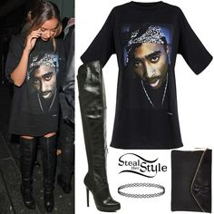 Jade Thirlwall was spotted leaving Paper nightclub in London wearing a PrettyLittleThing 2Pac Portrait T-Shirt Dress ($43.75), a tattoo choker similar to this from Urban Outfitters ($8.00), a Large Asymmetric Clutch Bag (Sold Out) and Over The Knee Stiletto Boots (Sold Out) all from River Island.