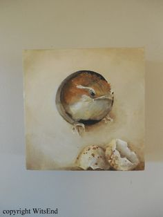"""""""OOPS"""".  Carolina Wren bird and egg painting original art  by 4WitsEnd,via Etsy"""
