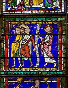 The Pharisees Turn Away from Christ - medieval stained glass detail, Canterbury Cathedral    Late 12th century