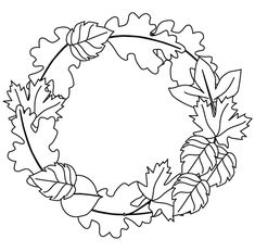 Printable Fall Coloring Pages | Fall wreath coloring page - Free Printable Coloring Pages
