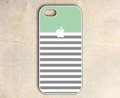 unique iphone 4 case iphone 4s case  mint grey stripe by Casely, $14.00