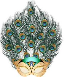 This special Carnival mask is made from peacock feathers.
