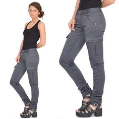 New Ladies Womens Grey Slim Fitted Combat Pants Skinny Cargo Trousers Jeans