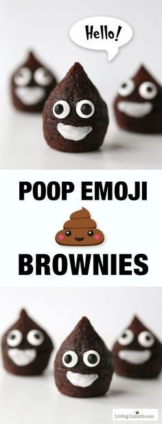 HAHAHAHA!! These Poop Emoji Brownies are the cutest party dessert! A perfect chocolate treat for an Emoji Birthday Party celebration.